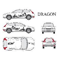Stickers Grands Formats Set complet Adhesifs -DRAGON- Noir - Taille S - PROMO ADN - Car Deco