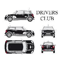 Stickers Grands Formats Set complet Adhesifs -DRIVERS CLUB- Blanc - Taille M - PROMO ADN - Car Deco