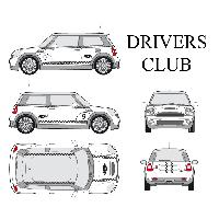 Stickers Grands Formats Set complet Adhesifs -DRIVERS CLUB- Noir - Taille M - PROMO ADN - Car Deco