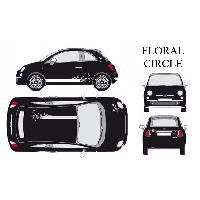 Stickers Grands Formats Set complet Adhesifs -FLORAL CIRCLE- Blanc - Taille M - PROMO ADN - Car Deco