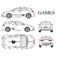 Stickers Grands Formats Set complet Adhesifs -GAMES- Taille S - Car Deco