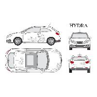 Stickers Grands Formats Set complet Adhesifs -HYDRA- Argent - Taille S - Car Deco - ADNAuto