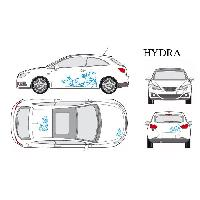Stickers Grands Formats Set complet Adhesifs -HYDRA- Bleu - Taille M - Car Deco Generique