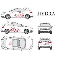 Stickers Grands Formats Set complet Adhesifs -HYDRA- Rouge - Taille M - Car Deco