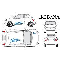 Stickers Grands Formats Set complet Adhesifs -IKEBANA- Bleu - Taille M - PROMO ADN - Car Deco - ADNAuto