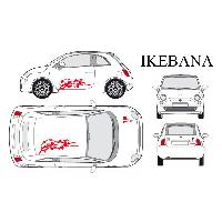 Stickers Grands Formats Set complet Adhesifs -IKEBANA- Rouge - Taille M - PROMO ADN - Car Deco