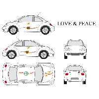 Stickers Grands Formats Set complet Adhesifs -LOVE AND PEACE- Full Color - Taille M - Car Deco - ADNAuto