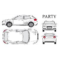 Stickers Grands Formats Set complet Adhesifs -PARTY- Argent - Taille M -PROMO ADN - Car Deco - ADNAuto