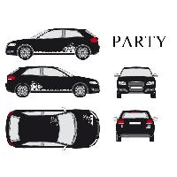 Stickers Grands Formats Set complet Adhesifs -PARTY- Blanc - Taille M - PROMO ADN - Car Deco Generique