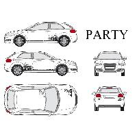 Stickers Grands Formats Set complet Adhesifs -PARTY- Noir - Taille M - PROMO ADN - Car Deco