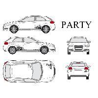 Stickers Grands Formats Set complet Adhesifs -PARTY- Noir - Taille M - PROMO ADN - Car Deco Generique