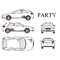 Stickers Grands Formats Set complet Adhesifs -PARTY- Noir - Taille S - PROMO ADN - Car Deco