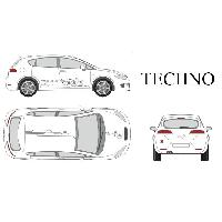 Stickers Grands Formats Set complet Adhesifs -TECHNO- Argent - Taille M - ADNAuto