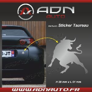 Stickers Monocouleurs Adhesif Sticker Argent - Taureau Corrida - H84mm x L90mm - ADNAuto