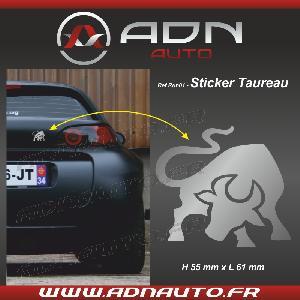 Stickers Monocouleurs Adhesif Sticker Argent - Taureau Stylise - H80mm x L90mm - ADNAuto