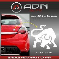 Stickers Monocouleurs Adhesif Sticker Blanc - Taureau Stylise - H80mm x L90mm - ADNAuto