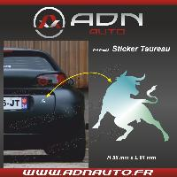 Stickers Monocouleurs Adhesif Sticker Chrome - Taureau Corrida - H84mm x L90mm