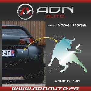 Stickers Monocouleurs Adhesif Sticker Chrome - Taureau Corrida - H84mm x L90mm - ADNAuto