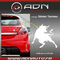 Stickers Monocouleurs Adhesif Sticker blanc - Taureau Corrida - H84mm x L90mm - ADNAuto