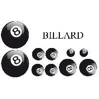 Stickers Monocouleurs Set Adhesifs -ELEMENT BILLARD- Noir et Blanc - Car Deco