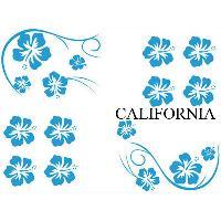 Stickers Monocouleurs Set Adhesifs -ELEMENT CALIFORNIA- Bleu - Car Deco Generique