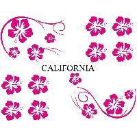 Stickers Monocouleurs Set Adhesifs -ELEMENT CALIFORNIA- Rose - Car Deco Generique