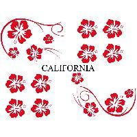 Stickers Monocouleurs Set Adhesifs -ELEMENT CALIFORNIA- Rouge - Car Deco Generique