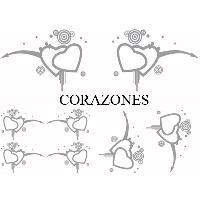 Stickers Monocouleurs Set Adhesifs -ELEMENT CORAZONES- Gris - Car Deco