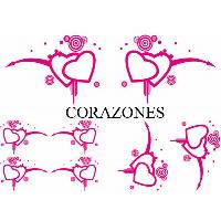 Stickers Monocouleurs Set Adhesifs -ELEMENT CORAZONES- Rose - Car Deco Generique