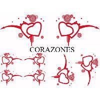 Stickers Monocouleurs Set Adhesifs -ELEMENT CORAZONES- Rouge - Car Deco