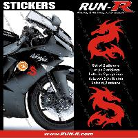 Stickers Moto generiques 2 stickers DRAGON 10 cm - ROUGE Run-R Stickers
