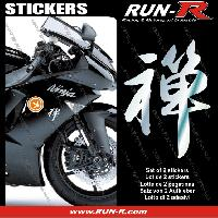 Stickers Moto generiques 2 stickers KANJI ZEN 16 cm - CHROME Run-R Stickers