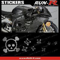 Stickers Motos 16 stickers tete de mort SKULL RAIN - ARGENT - Run-R Stickers
