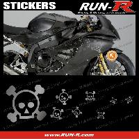 Stickers Motos 16 stickers tete de mort SKULL RAIN - ARGENT Run-R Stickers