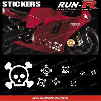 Stickers Motos 16 stickers tete de mort SKULL RAIN - BLANC
