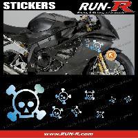 Stickers Motos 16 stickers tete de mort SKULL RAIN - CHROME