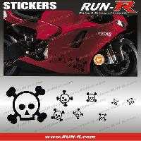 Stickers Motos 16 stickers tete de mort SKULL RAIN - NOIR