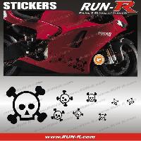 Stickers Motos 16 stickers tete de mort SKULL RAIN - NOIR Run-R Stickers