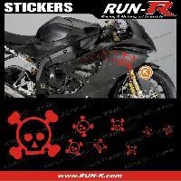 Stickers Motos 16 stickers tete de mort SKULL RAIN - ROUGE - Run-R Stickers