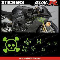 Stickers Motos 16 stickers tete de mort SKULL RAIN - VERT - Run-R Stickers
