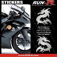Stickers Motos 2 stickers DRAGON 10 cm - ARGENT