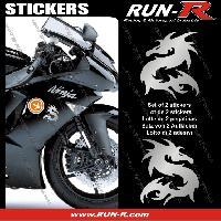 Stickers Motos 2 stickers DRAGON 10 cm - ARGENT