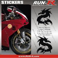 Stickers Motos 2 stickers DRAGON 10 cm - NOIR