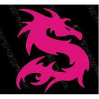 Stickers Motos 2 stickers DRAGON 10 cm - ROSE - Run-R Stickers