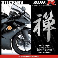 Stickers Motos 2 stickers KANJI ZEN 16 cm - ARGENT Run-R Stickers