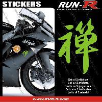 Stickers Motos 2 stickers KANJI ZEN 16 cm - VERT - Run-R Stickers