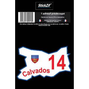Stickers Multi-couleurs 1 Adhesif Departement CARTE CALVADOS