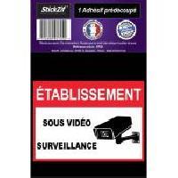 Stickers Multi-couleurs 1 Adhesif Pre-Decoupe ETABLISSEMENT Sous Video Surveillance Generique