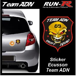 Stickers Multi-couleurs 1 Autocollant TEAM ADN - Format Ecusson 10cm ADNAuto