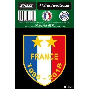 Stickers Multi-couleurs 1 Sticker Blason FRANCE 1998-2018 - ADNAuto